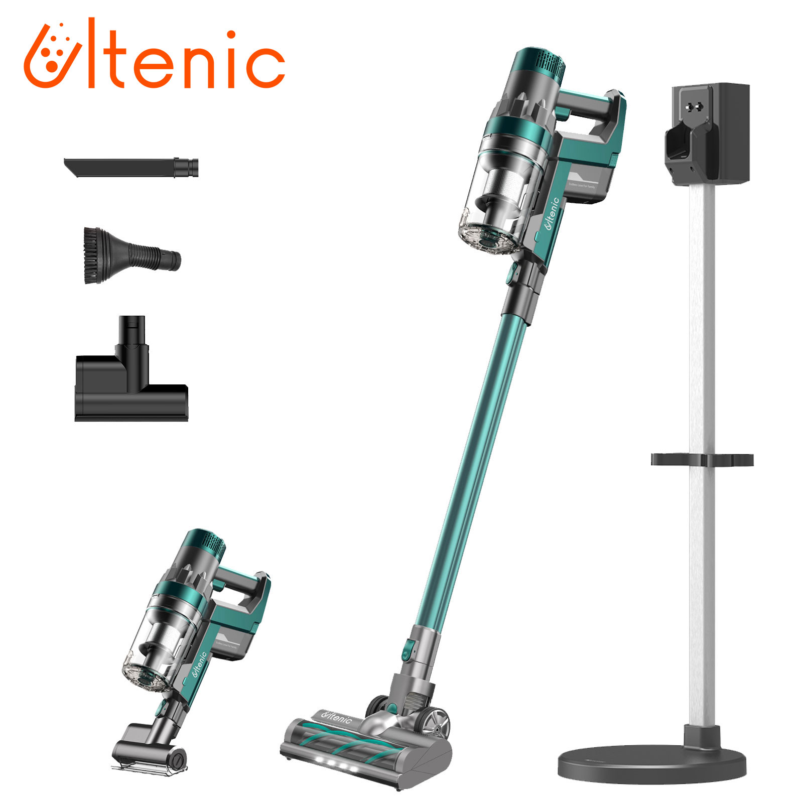 Ultenic U11 Cordless Vacuum Cleaner,4 in 1 Strong function, 25kPa,Removable Battery, LED Touch Screen,Charging with Storage rack
