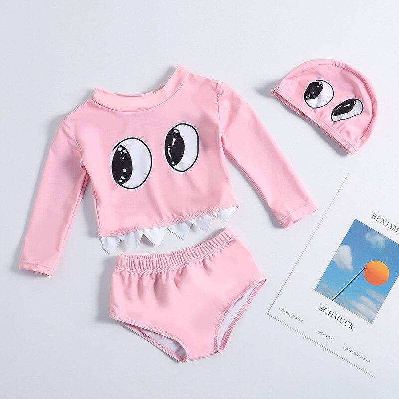 New Style CHILDREN'S Swimwear Split Long Sleeve Bikini Briefs With Big Eye Solid Color Infants Medium-small Girls Baby
