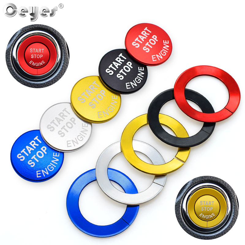 Ceyes Car Styling Accessories Engine Stickers Start Stop Ring Auto Switch One Button Trims Cover Case For Nissan Qashqai Juke 15