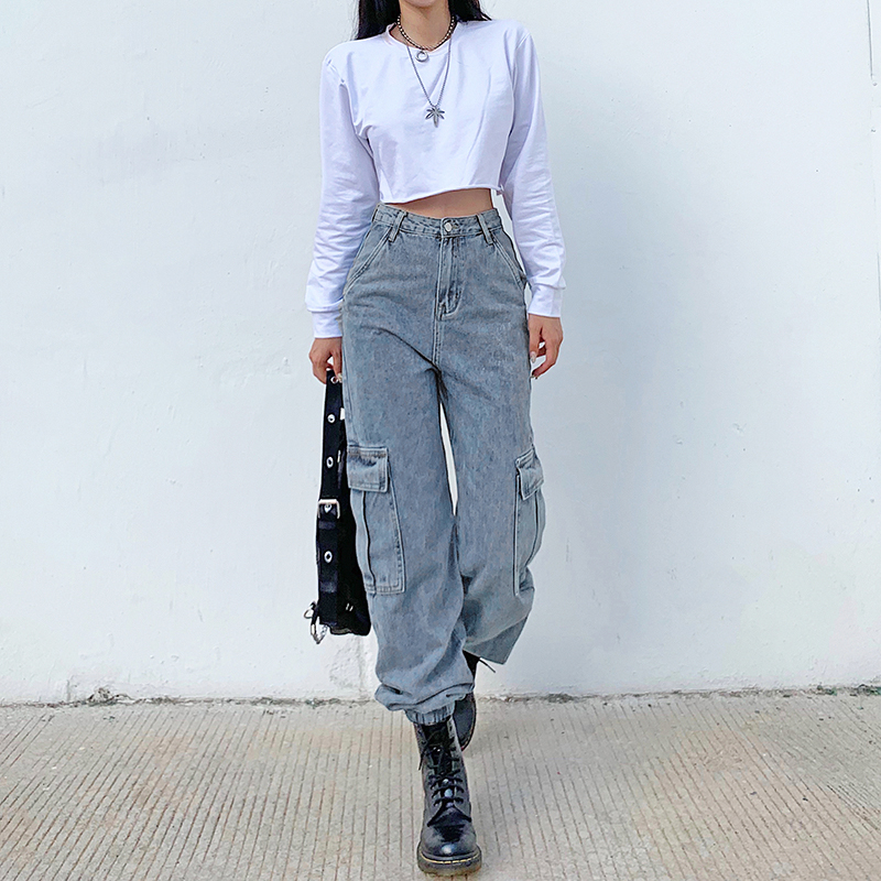 Patchwork Pockets Baggy Faded Cargo Jeans