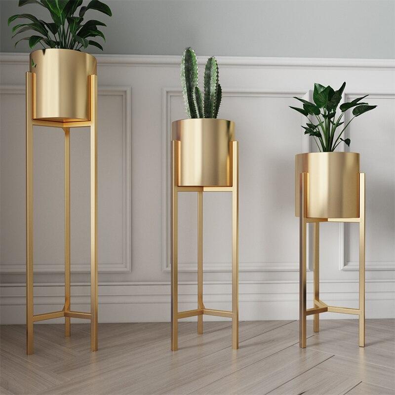 Nordic çiçek standı basit zemin altın oturma odası dekorasyon çiçek standı ferforje demir yaratıcı kapalı yeşil saksı standı