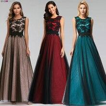 Robe de soirée Longue élégante dentelle noire rouge Robe de bal Longue pas cher Appliques en mousseline de soie robes de soirée Vestido de Festa