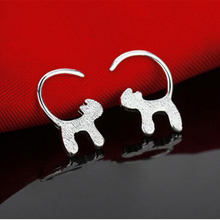 925 Sterling Silver Long Tail Cute Cat Stud Earrings For Women Girls Fashion Jewelry Accessories Gifts S-E137(China)
