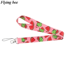 Flyingbee Creative watermelon Keychain Cartoon Phone Lanyard Women Fashion Strap Neck Lanyards for ID Card Phone Keys X0621