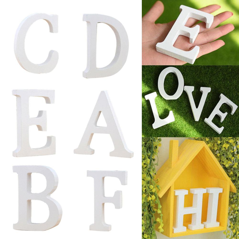 1Pc Wooden English Letters Ornament White Wedding Decorations Alphabet Shape Baby Shower Mariage Birthday Party DIY Accessories