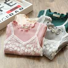 Baby Girl T-Shirt 2-6T Lovely Toddler Children Girls Fake Two Pieces T-Shirt Cotton Wear Bottoming Long-Sleeve T-Shirt Girl Tops