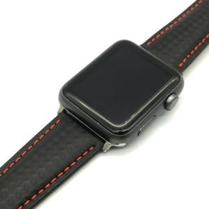 Image 3 - AKGLEADER Correa de cuero genuino de fibra de carbono para reloj, pulsera para Apple Watch Series 4, 5, 6, 40mm, 44mm, Series 3, 2, 38/42mm