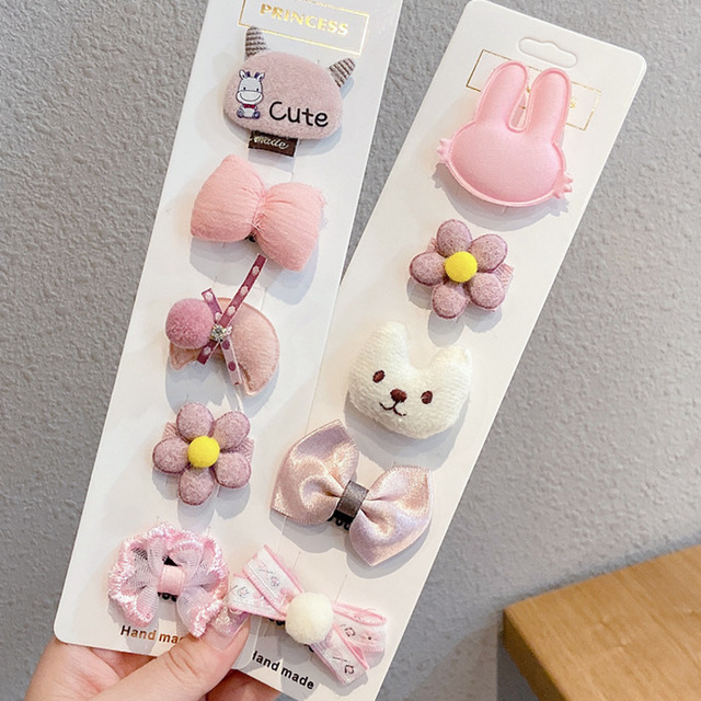 [Xwen] 5 Pieces/set 2021 New Cute Girls Hairpin Headdress Baby Hair Clip Korean Hairwear Kids Hair Accessories OH2134      -