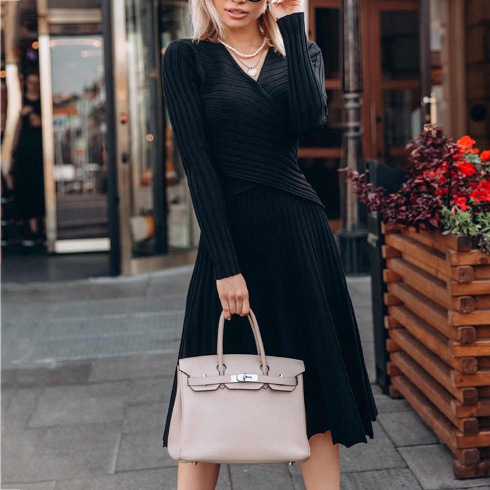 ファッションデザイナープリーツニットドレスエレガントな女性冬ドレスプルオーバー黒長袖秋ミディ Vestido 2019