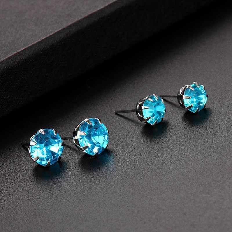 12 pares/conjuntos clásicos negro blanco azul Rosa cúbico zirconio pendientes conjunto de aleación de moda pendientes de cristal joyería para hombres y mujeres