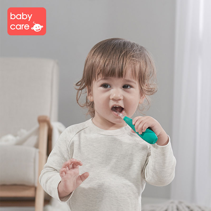 babycare 3pcs Replace Toothbrush LED Light Waterproof Soft Hair Low Shock Sound Wave 1 3 years Baby Silicone Electric Toothbrush in Toothbrushes from Mother Kids