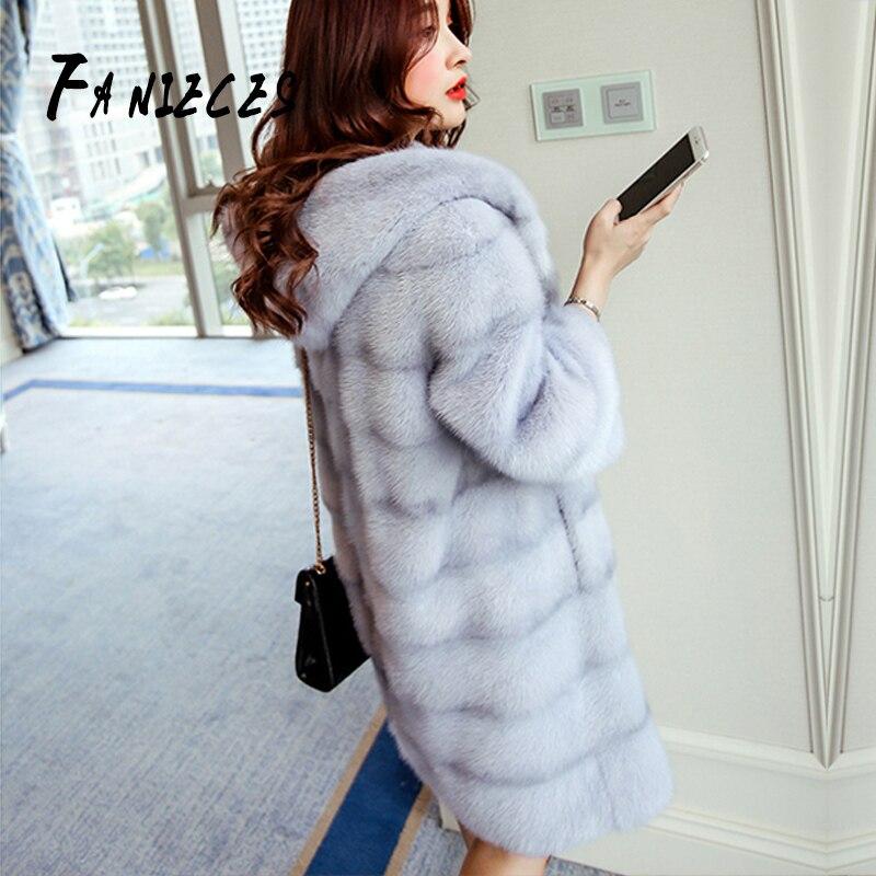 2019 Women Winter Coat Stripe Faux Fur Coat Collar Hooded Fur Jacket Medium-long Overcoat XL-4XL Sobretudo Feminino Bontjas