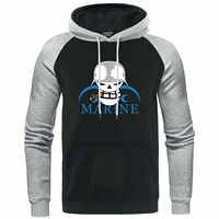 Marine Navy Logo Pullover One Piece Men Hooded Sweatshirt Raglan Japanese Anime Harajuku Streetwear Tracksuit Casual Men's Hoody