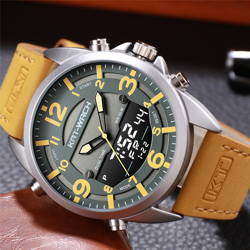 Outdoor Men Watches Sport Digital Military Quartz Watch Male Fashion Leather Strap LED Clock Electronic Waterproof 50m