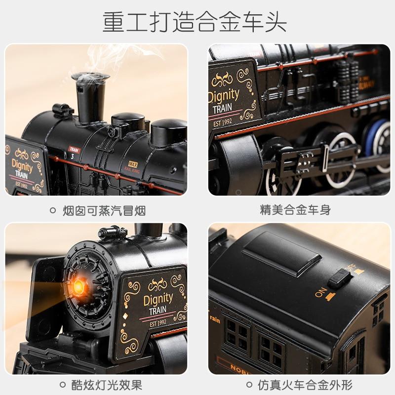 Классический стая железная дорога, моторизованный поезд, трек «сделай сам», Набор железной дороги, динамические паровые RC Поезда, электрические игрушки для детей