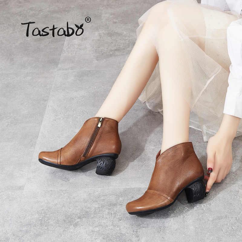 Tastabo manuel hakiki deri yüksek topuk kadın çizmeler siyah kahverengi Vintage doku S3655-3 rahat ayakkabılar aşınmaya dayanıklı