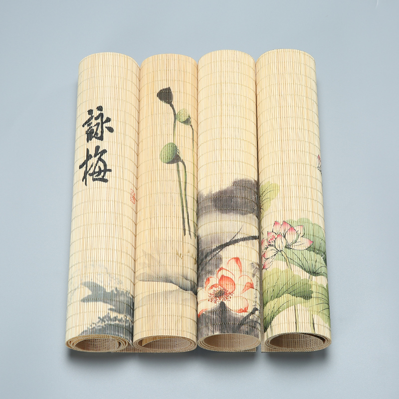 Tea Tray Napkin Cloth Waterproof Table Runner Handmade Bamboo Curtain Tea Mat Tea Ceremony Accessories H