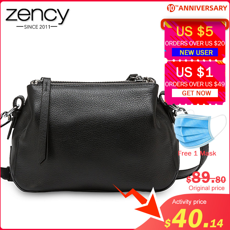 Zency Simple Style Women Shoulder Bag 100% Genuine Leather High Quality Lady Crossbody Bag Black Grey Fashion Tote Handbag