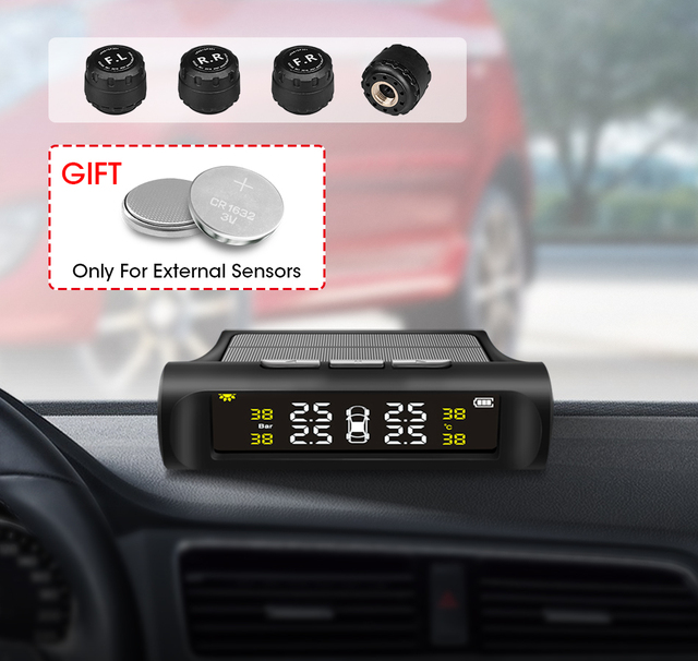 Jansite Smart Car TPMS Tyre Pressure Monitoring System Solar Power Digital LCD Display Auto Security Alarm Systems Tyre Pressure 2