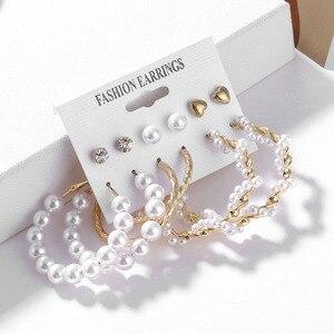 2020 богемный Леопардовый цвет, акриловый Комплект сережек для женщин с жемчугом, модные геометрические серьги ручной работы, ювелирный подарочный набор