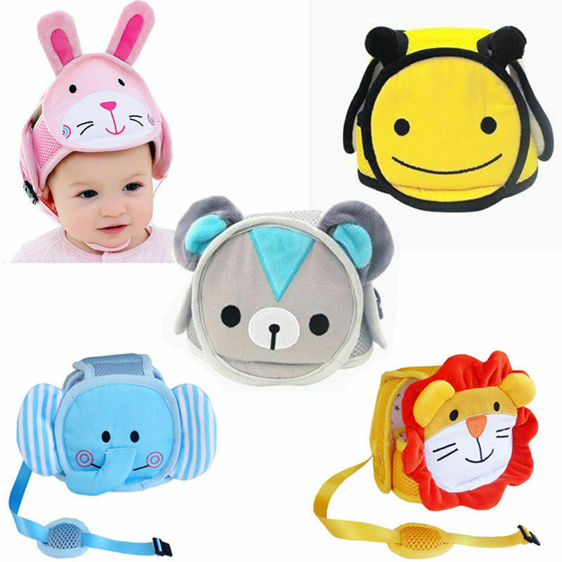 Baby Boys Girls Hats Safety Helmet Head Protection Toddler Kids Adjustable Soft Headguard Cap 100% Cotton Print Cartoon Hot 2020