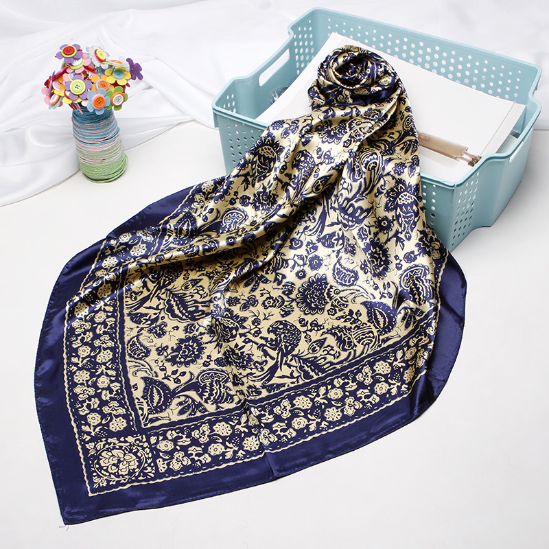 Fahsion Floral Print Hijab Scarf For Women Silk Satin Head Scarfs Female 90*90cm Square Shawls and Wraps Scarves For Ladies 2020|Women