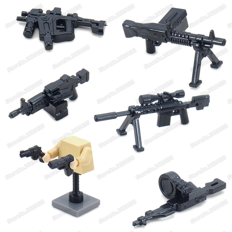 Legoinglys Weapons Special Police Figures Military Building Blocks Assemble Guns Ww2 Soldier Equipped Child Christmas Gifts Toys