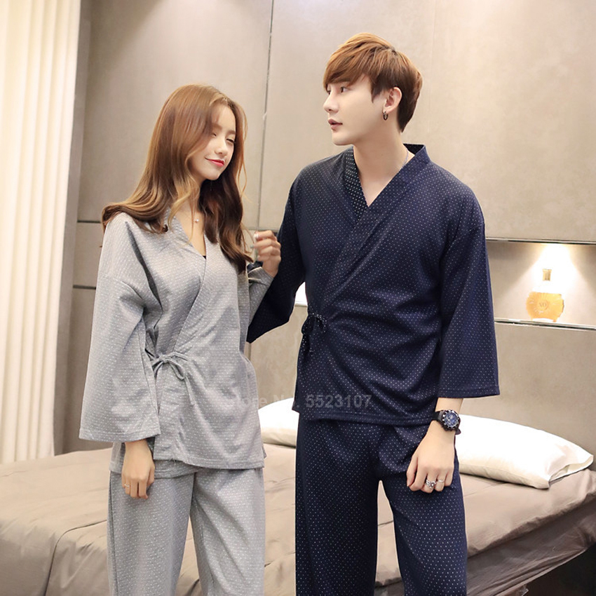Japanese Style Couple's Pajamas Set V-neck Kimono Yukata Samurai Man Women Cardigan Trousers Suit Sleepwear Comfortable
