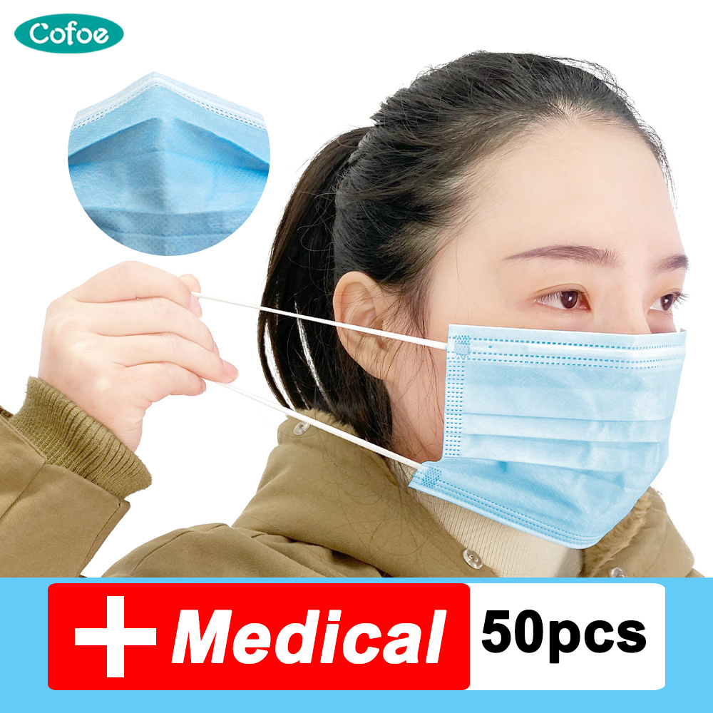 Cofoe Medical Mask Disposable Proof Flu Face Masks Care 3 Layer Surgical Mask Medical Bacterial Facial Dust-Proof Safety Masks
