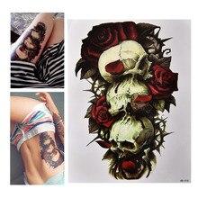 Водонепроницаемый Череп и Роза Временный Тату Большой Рука Тело Искусство Татуировки Наклейка% 2C