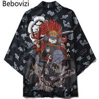 Bebovizi Japanese Style Cat Samurai Kimono Streetwear Men Women Cardigan Japan Harajuku Anime Robe Anime Clothes 2020 Summer