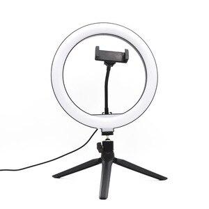 Image 1 - 10 인치 USB 디 밍이 가능한 LED Selfie 링 라이트 스튜디오 링 라이트 카메라 전화 사진 비디오 메이크업 램프 전화 클립 홀더