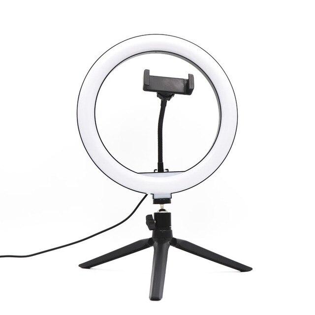 10 인치 USB 디 밍이 가능한 LED Selfie 링 라이트 스튜디오 링 라이트 카메라 전화 사진 비디오 메이크업 램프 전화 클립 홀더