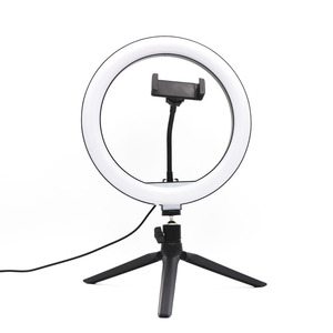 Image 1 - 10 inch USB Dimmable LED Selfie Ring Light Studio Ring Light Camera Phone Photography Video Makeup Lamp With Phone Clip Holder