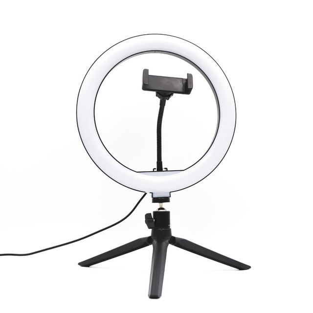 10 inch USB Dimmable LED Selfie Ring Light Studio Ring Light Camera Phone Photography Video Makeup Lamp With Phone Clip Holder