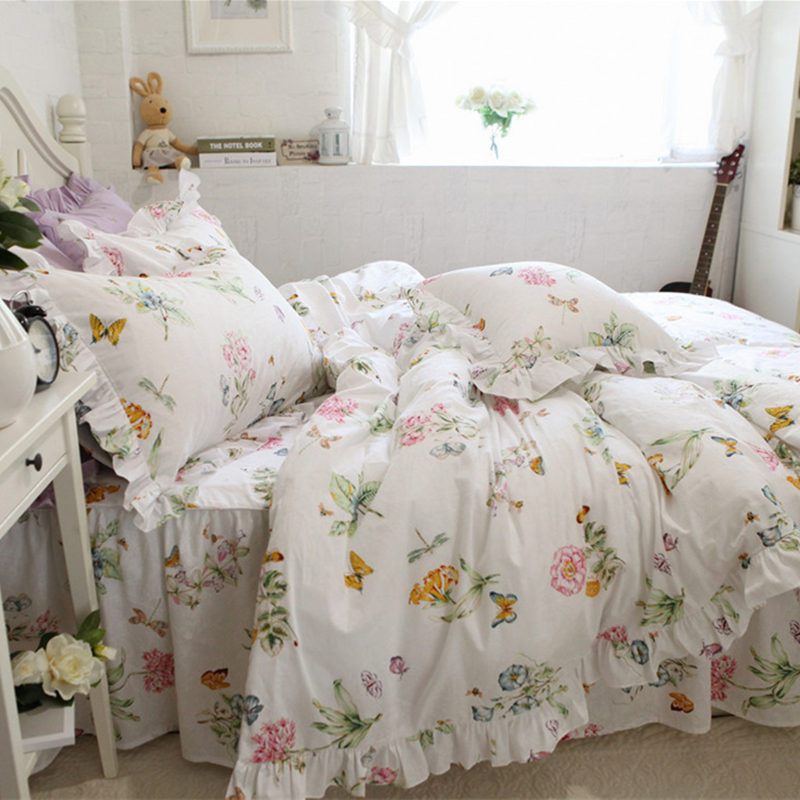 New fresh bedding set butterfly love flower print ruffle duvet cover bed cover home textile bedspread princess pillowcase HM-02B