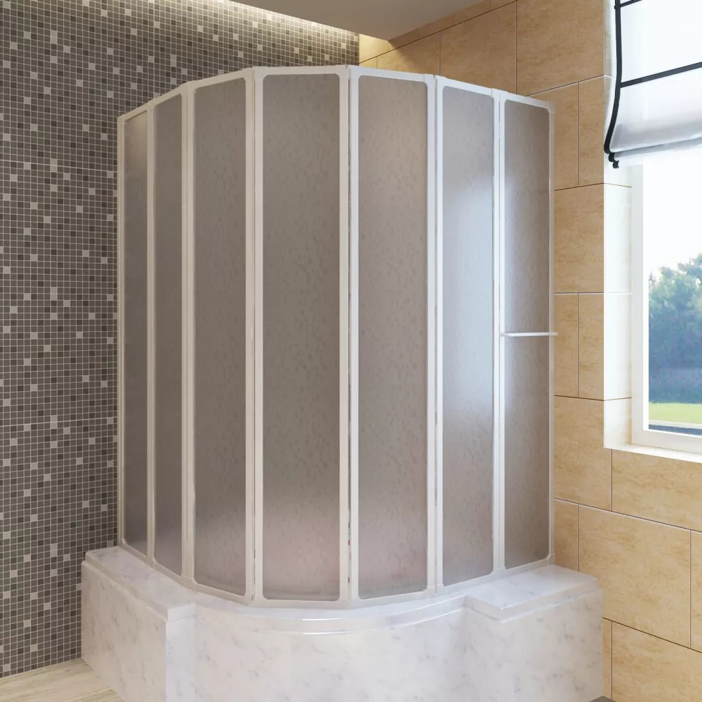 VidaXL Shower Bath Screen Wall 7 Panels Foldable With Towel Rack Stable Aluminum Frame Bath Screen 140X168Cm For Bathroom