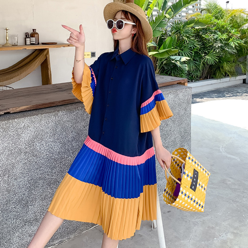[EWQ] Patchwork Plus Size Buttoned Pleated Shirt Dress Korea Casual Flare Sleeve Summer Spring 2021 Sweet Cute Lady Robe 16W470