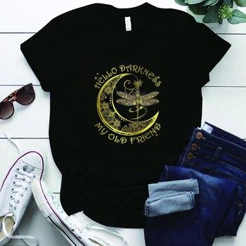 Libélula Hippie Hello Darkness My Old Friend, Camisetas estampadas para mujer, camisetas...