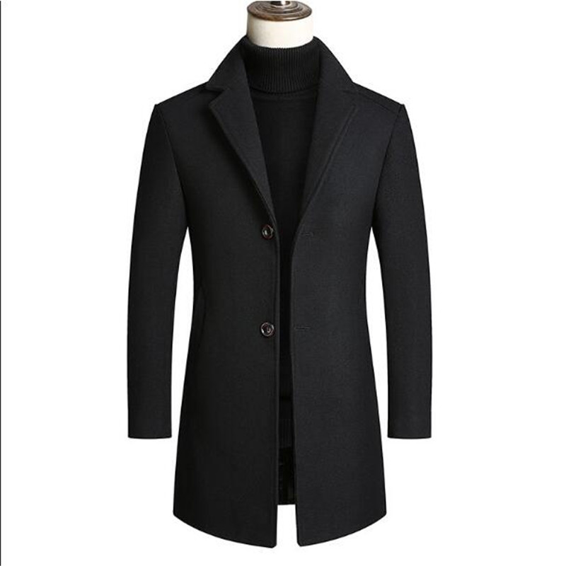 Men's wool coat men's suit collar thickened young and middle-aged wool coat windbreaker