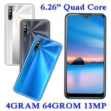 4G RAM Android 13MP Smartphones A2 Quad Core Original 64G ROM 2sim Mobile Phones Face ID Unlocked 6.26