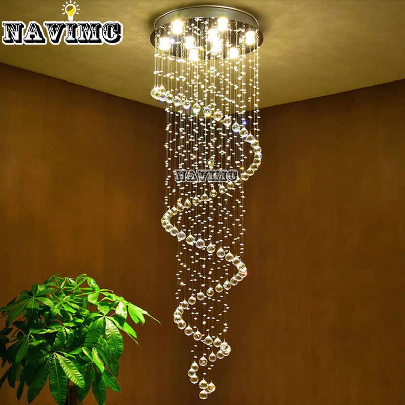 Modern K9 Besar LED Spiral Ruang Tamu Lampu Gantung Kristal Perlengkapan Pencahayaan Tangga Tangga Lampu Menampilkan Kamar Tidur Hotel Hall