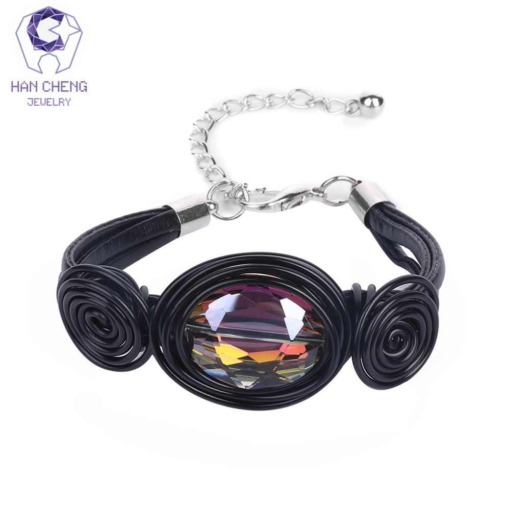 HanCheng New Fashion komunikat Handmade Leather Wire Charm bransoletka kryształowe szklane koraliki bransoletki i Bangles dla kobiet biżuteria