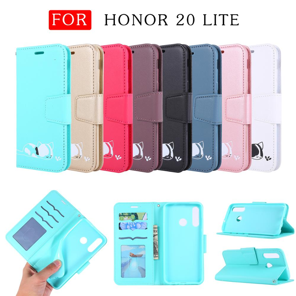 Cute Cat Wallet Phone Case For <font><b>Huawei</b></font> Honor 20 20 Lite 10 Lite 8A P20 P30 P30 Lite P Smart <font><b>Y6</b></font> Y7 <font><b>2019</b></font> Leather Flip Case <font><b>Funda</b></font> image