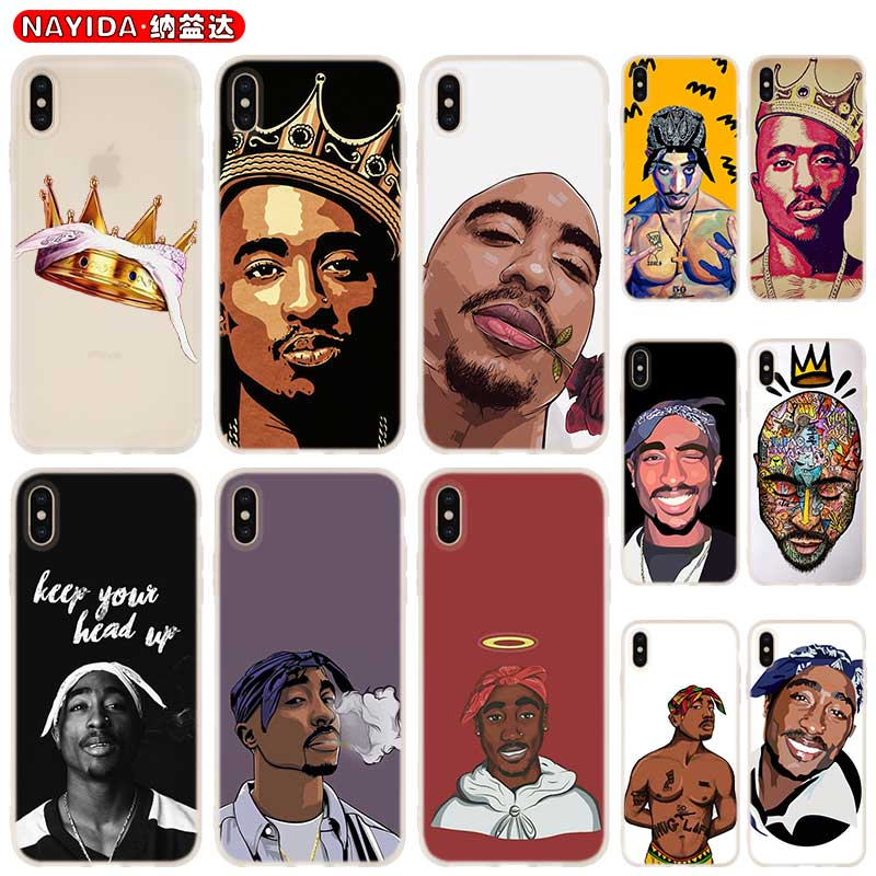 Phone case soft Cover for iPhone 11 Pro X XI XS Max XR 6 7 8 G Plus SE 2020 4 5 S Cases 2Pac Tupac Shakur Super Deal image