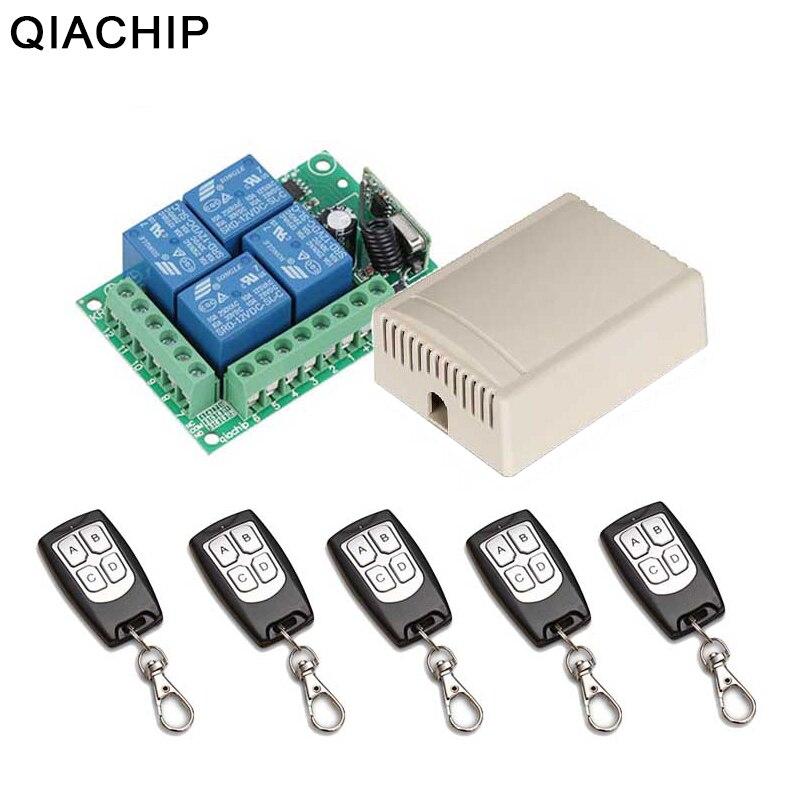 QIACHIP 433Mhz Universal Wireless Remote Control Switch DC 12V 4 CH RF Relay Receiver Module + RF Remote 433 Mhz Transmitter Diy