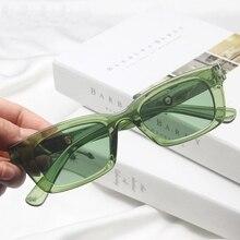 Очки солнцезащитные женские прямоугольные, винтажные брендовые дизайнерские прозрачные зеленые солнечные очки в стиле ретро, «кошачий гла...