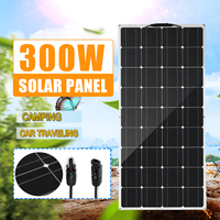 300W Flexible Solar Panel 18V Solar Cell Module Cable Car 18V Monocrystalline Solar Charger for RV Boat Home Roof Camping SUV