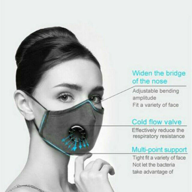 Cotton PM2.5 anti dust mask Black mouth Mask Activated carbon filter Windproof Mouth-muffle bacteria proof Flu Face masks Care 3