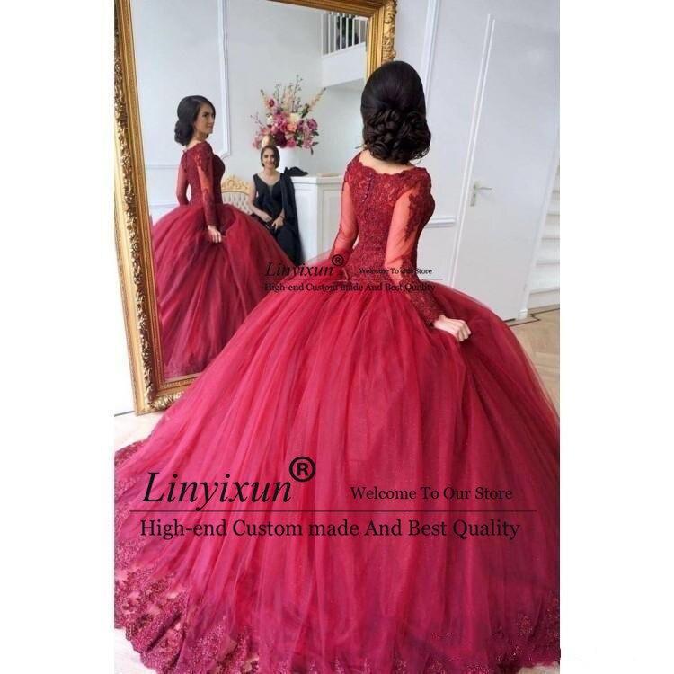 Rouge foncé 2019 robe de bal Quinceanera robes manches longues dentelle appliques à plusieurs niveaux Tulle doux 16 robes robes de bal robes de quinceanera